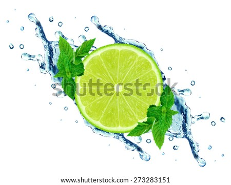 lime and mint, water splash isolated on white background - stock photo