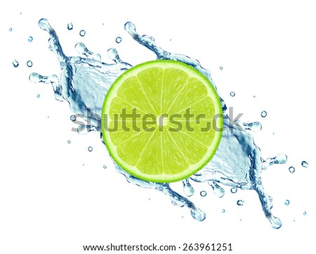 lime and water splash isolated on white background - stock photo