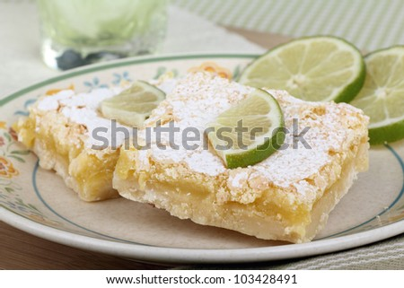 Lime bars with lime slices on a plate - stock photo