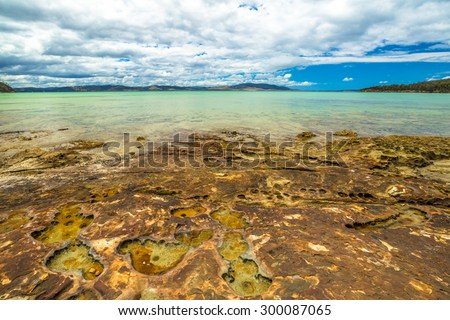 Lime Bay beach of camping within the Lime Bay State Reserve, located at the northern end of the Tasman Peninsula to the west of Whitehouse Point. Tasmania, Australia. . - stock photo