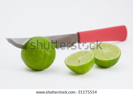 Lime being cut by knife