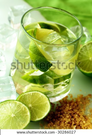 lime coctail. Caipirinha - brazil cocktail with cachaca, sugar and lime - stock photo