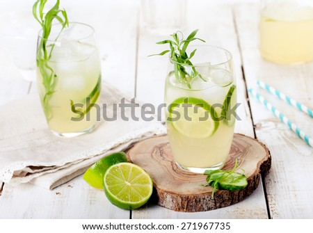 Lime, cucumber, tarragon lemonade, cocktail on a white wooden background - stock photo