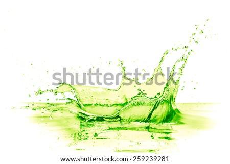 lime drink splash on white background - stock photo