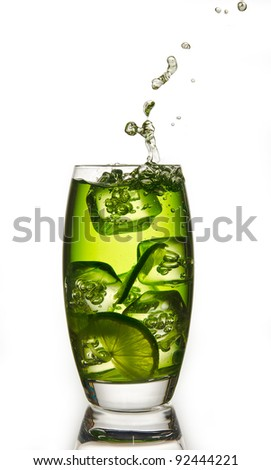 lime drink with a ice and a splash - stock photo