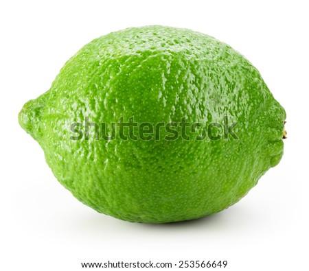 Lime fruit isolated on white background. - stock photo