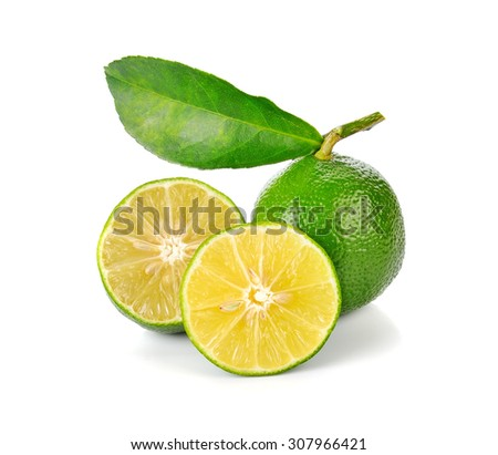 lime fruit with leaf isolated on white background - stock photo