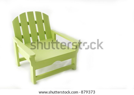 Lime green Adirondack chair - stock photo