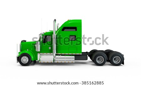 Lime green american truck isolated on white background