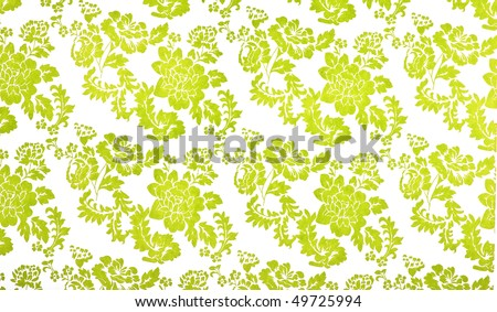 Lime green and white flower design background - stock photo