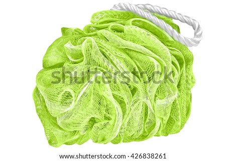 Lime green bath scrubber loofah, isolated on white background - stock photo