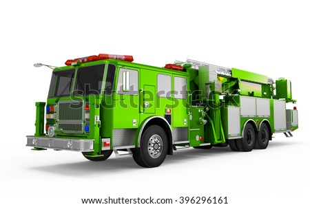 Lime Green Firetruck perspective front view isolated on a white background - stock photo