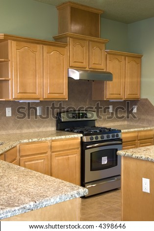 lime green walls make for a unique kitchen - stock photo