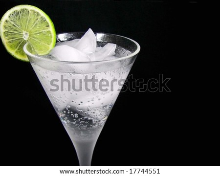 lime in cocktail - stock photo