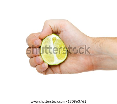 lime in hand isolated on white background - stock photo
