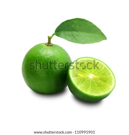 Lime isolated on a white background + Clipping Path - stock photo