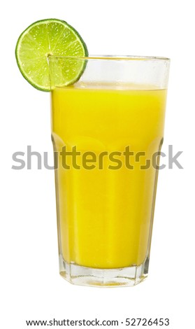 lime juice in glass slice Liam isolated on white