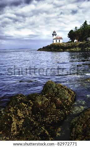Lime Kiln Lighthouse near Friday Harbor on San Juan Island - stock photo