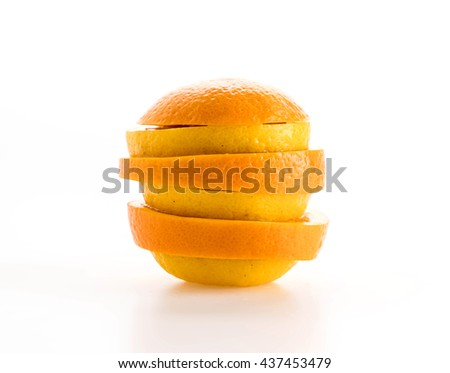 lime, lemon and orange slices on white background