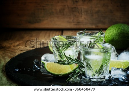 Lime Lemonade with rosemary and ice, dark toned image, selective focus