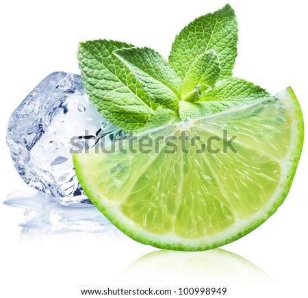 Lime, mint and ice cube on a white background. - stock photo