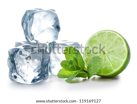 Lime, mint and ice cubes on white background