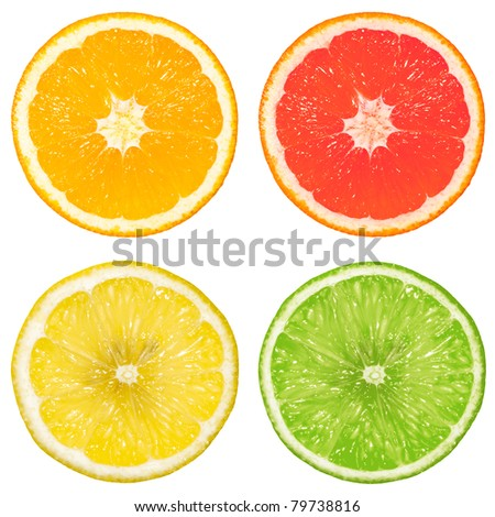 lime, orange, grapefruit and lemon isolated on a white background - stock photo