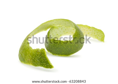 Lime peel. Close-up. Isolated on white background.