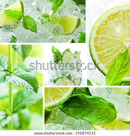 lime pieces and leaves of mint with ice , saved clipping path - stock photo