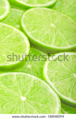 Lime slices background - stock photo
