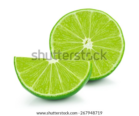 Lime slices isolated on white background - stock photo