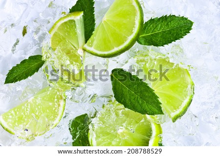 lime slices with ice and peppermint leaves