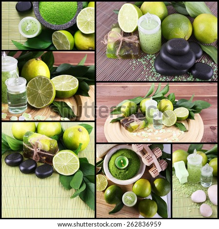 Lime spa compositions in collage - stock photo