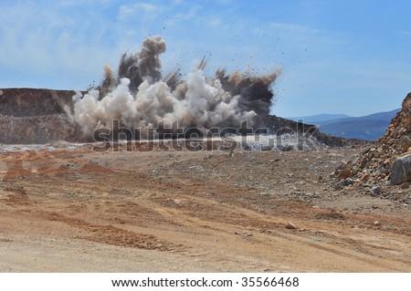 lime stone blasting, exploding - stock photo
