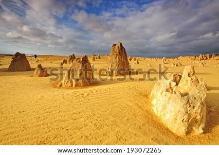 Lime stones at Pinnacles Desert in Western Australia - stock photo