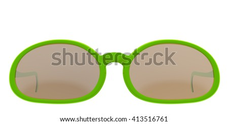 Lime sun glasses isolated on white background. Include clipping path. 3D render - stock photo
