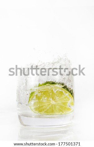Lime, water, spray, fresh, glass - stock photo