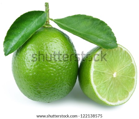 Lime with half on a white background. - stock photo