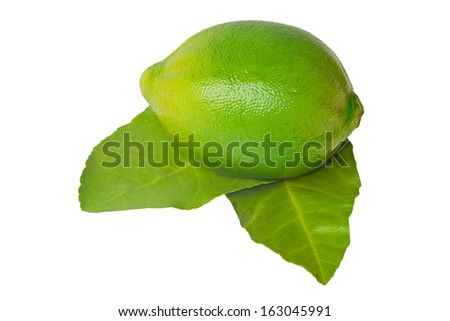 Lime with leaf isolated on a white background