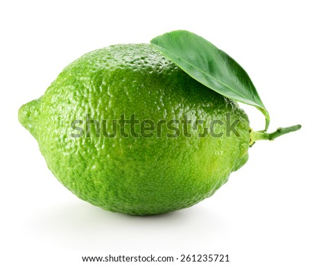 Lime with leaf isolated on white