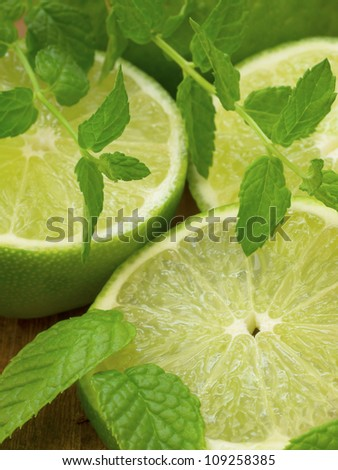 lime with mint - stock photo