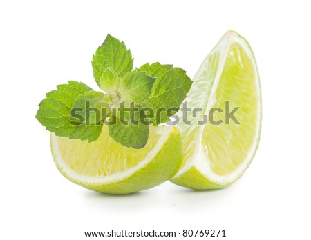Lime with mint isolated on white background - stock photo