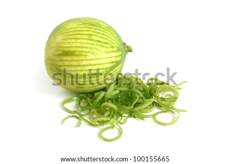 Lime with rind on a white background - stock photo