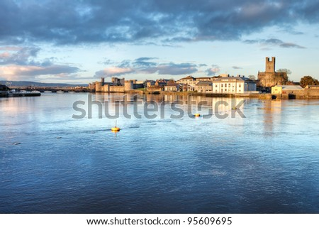 Limerick cityscape at dusk in Ireland. - stock photo