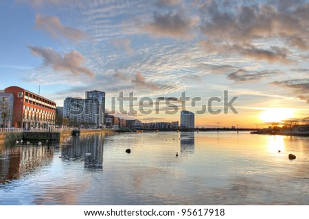 Limerick cityscape at sunset in Ireland. - stock photo