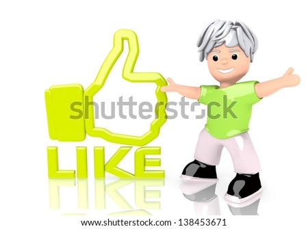 Limerick  funny boy 3d graphic with happy like symbol  with cute 3d character - stock photo