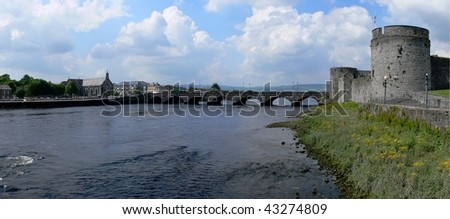 Limerick scenery with river and castle, Ireland - stock photo