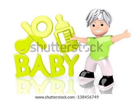 Limerick  young child 3d graphic with funny baby icon  with cute 3d character - stock photo