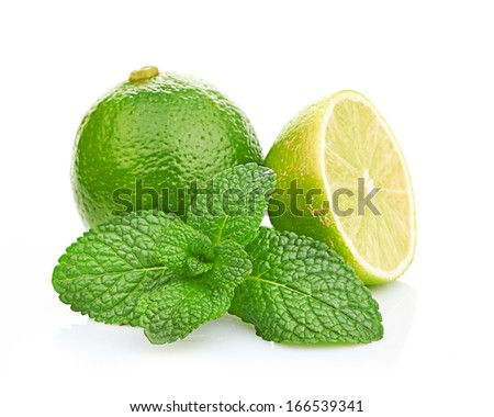 Limes and mint isolated on white background - stock photo