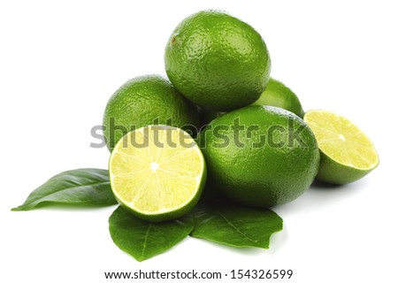 limes pile isolated on white - stock photo